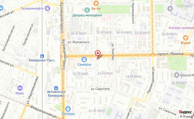 Карта расположения пункта доставки autolic.ru в городе Кемерово
