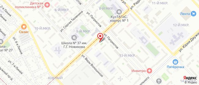 Карта расположения пункта доставки Билайн в городе Кемерово