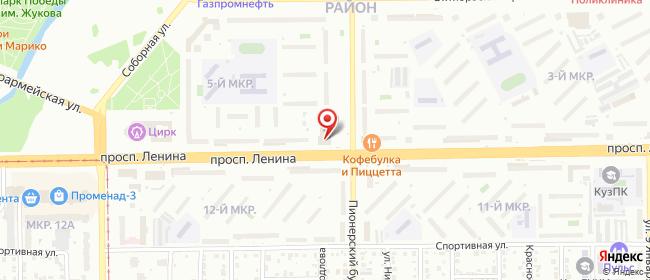 Карта расположения пункта доставки Ростелеком в городе Кемерово