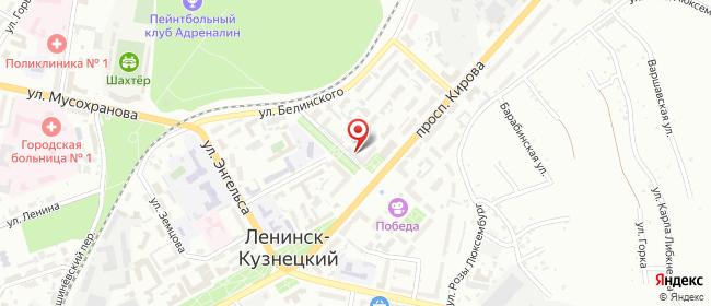Карта расположения пункта доставки Ростелеком в городе Ленинск-Кузнецкий