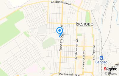 Местоположение на карте пункта техосмотра по адресу Кемеровская область - Кузбасс, г Белово, пер Бородина, д 38