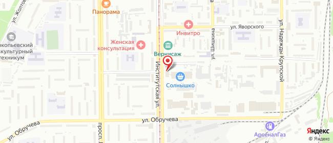 Карта расположения пункта доставки Прокопьевск Институтская в городе Прокопьевск