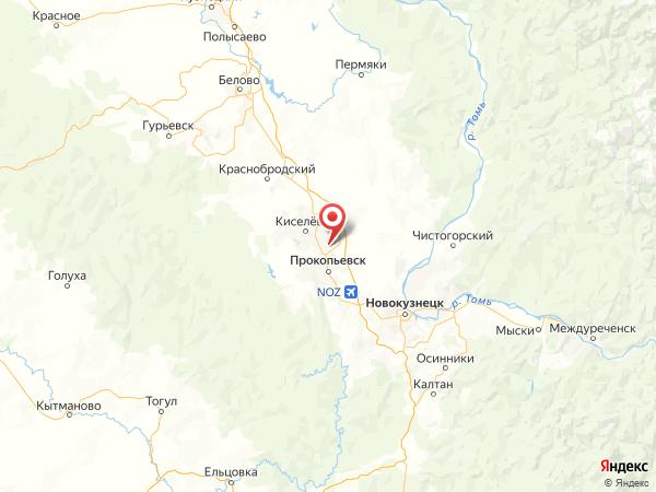 Прокопьевск на карте