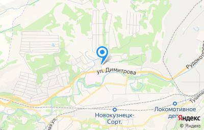 Местоположение на карте пункта техосмотра по адресу Кемеровская область - Кузбасс, г Новокузнецк, р-н Куйбышевский, ул Димитрова, д 34/7
