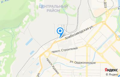 Местоположение на карте пункта техосмотра по адресу Кемеровская область - Кузбасс, г Новокузнецк, р-н Центральный, ул Хлебозаводская, д 1