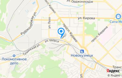 Местоположение на карте пункта техосмотра по адресу Кемеровская область - Кузбасс, г Новокузнецк, р-н Куйбышевский, ул Сибиряков-Гвардейцев, д 1А