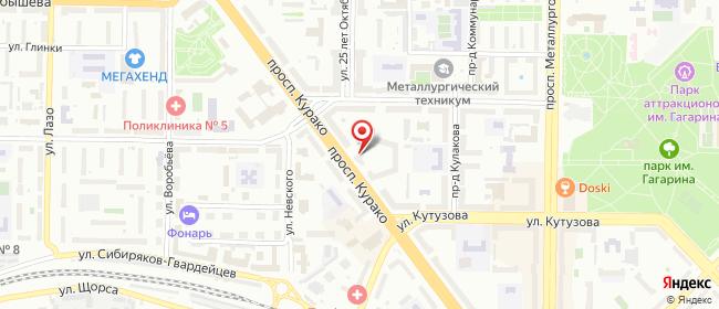 Карта расположения пункта доставки Новокузнецк Курако в городе Новокузнецк