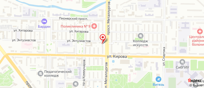 Карта расположения пункта доставки Новокузнецк Металлургов в городе Новокузнецк