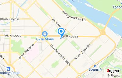 Местоположение на карте пункта техосмотра по адресу Кемеровская область - Кузбасс, г Новокузнецк, р-н Центральный, ул Кирова, д 62А, пом 27