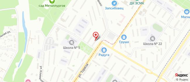 Карта расположения пункта доставки Новокузнецк Тореза в городе Новокузнецк