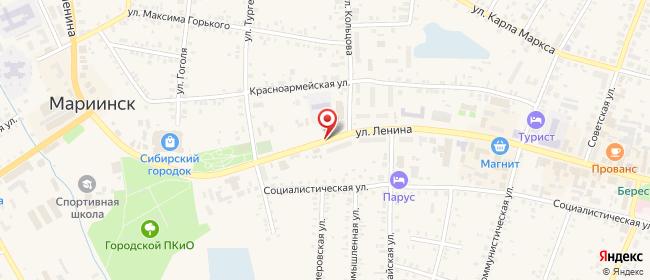 Карта расположения пункта доставки Билайн в городе Мариинск