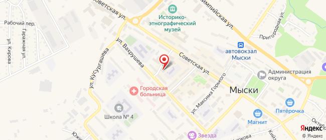 Карта расположения пункта доставки Билайн в городе Мыски