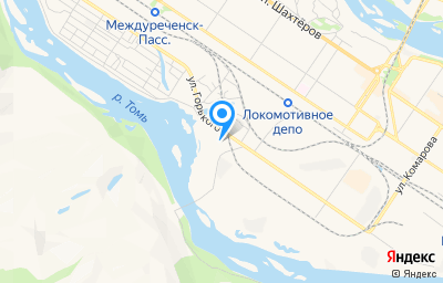 Местоположение на карте пункта техосмотра по адресу Кемеровская область - Кузбасс, г Междуреченск, ул Паровозная, стр 1Б, пом 3