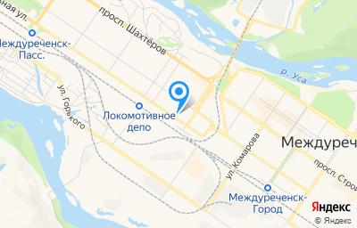 Местоположение на карте пункта техосмотра по адресу Кемеровская область - Кузбасс, г Междуреченск, ул Вокзальная, д 18А