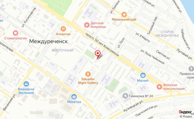 Карта расположения пункта доставки Пункт выдачи в городе Междуреченск