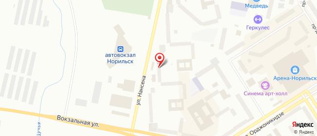 Карта расположения пункта доставки Билайн в городе Норильск