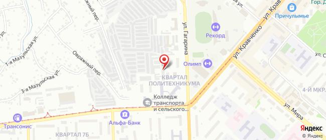 Карта расположения пункта доставки Пункт выдачи в городе Ачинск