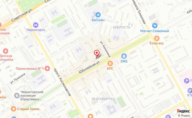 Карта расположения пункта доставки Черногорск Юбилейная в городе Черногорск