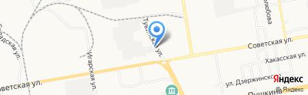 Шиномонтаж на Тувинской на карте Абакана