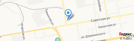 Каскад на карте Абакана