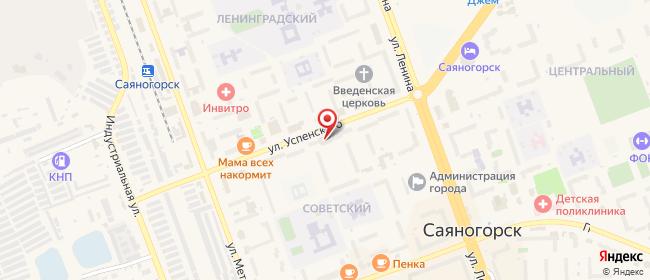 Карта расположения пункта доставки Саяногорск Советский в городе Саяногорск