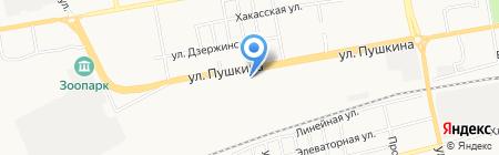 Шинная станция на карте Абакана