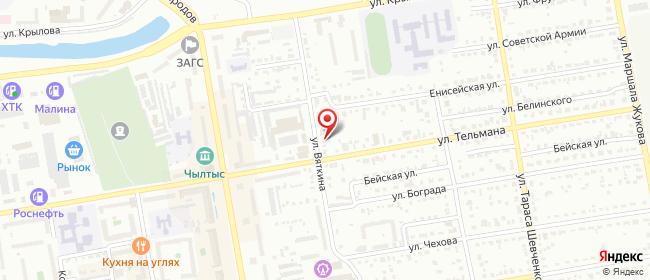 Карта расположения пункта доставки Абакан Вяткина в городе Абакан