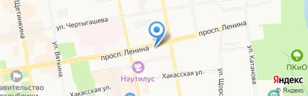 Магазин продуктов на проспекте Ленина на карте Абакана