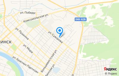 Местоположение на карте пункта техосмотра по адресу Красноярский край, г Минусинск, ул Суворова, д 21Г
