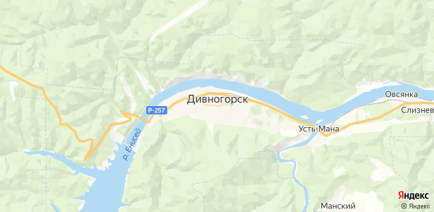 Дивногорск на карте