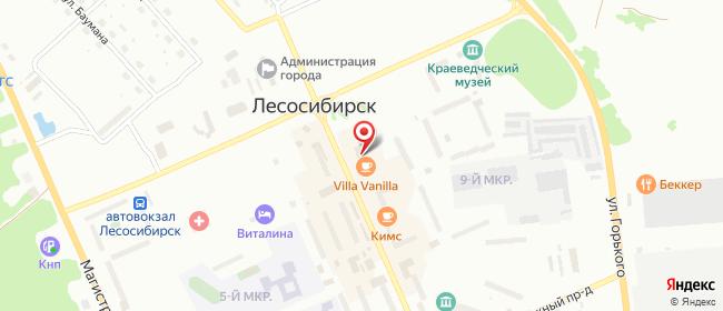 Карта расположения пункта доставки Лесосибирск Мира в городе Лесосибирск