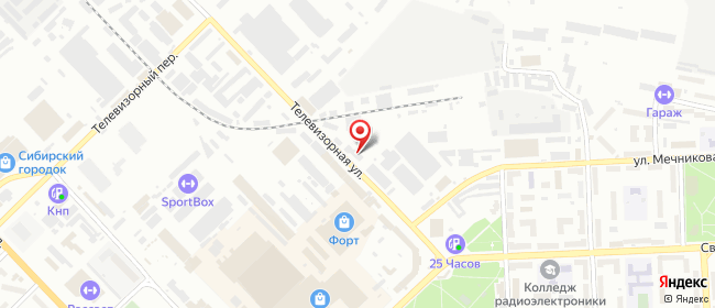 Карта расположения пункта доставки Красноярск Телевизорная в городе Красноярск