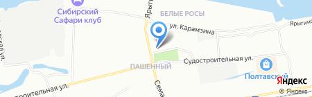 Берег Енисея на карте Красноярска