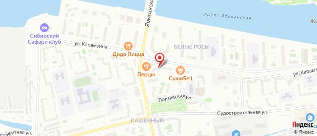 Карта расположения пункта доставки Красноярск Карамзина в городе Красноярск