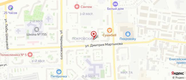 Карта расположения пункта доставки Красноярск Дмитрия Мартынова в городе Красноярск