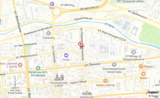 Карта расположения пункта доставки Билайн в городе Красноярск
