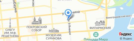 Хронограф на карте Красноярска