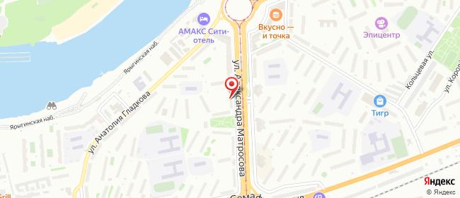 Карта расположения пункта доставки Красноярск Александра Матросова в городе Красноярск