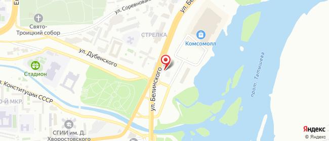 Карта расположения пункта доставки Красноярск Белинского в городе Красноярск