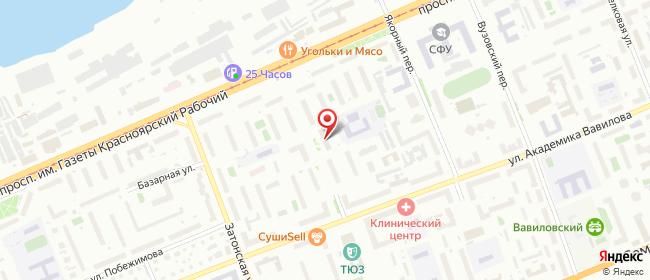 Карта расположения пункта доставки Красноярск Академика Вавилова в городе Красноярск