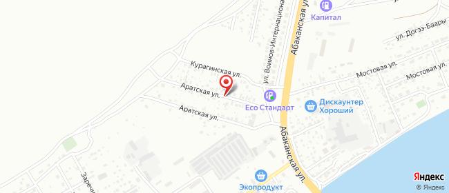 Карта расположения пункта доставки Кызыл Воинов интернационалистов в городе Кызыл