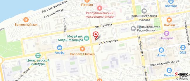Карта расположения пункта доставки Кызыл Кочетова в городе Кызыл