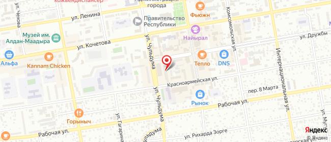 Карта расположения пункта доставки Ростелеком в городе Кызыл
