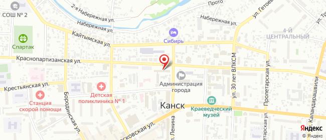 Карта расположения пункта доставки Ростелеком в городе Канск