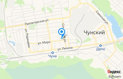 Местоположение на карте пункта техосмотра по адресу Иркутская обл, рп Чунский, ул Мира, зд 47В