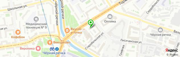 Поминальный зал у метро Черная речка — схема проезда на карте