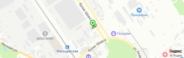 Банкетный комплекс Времена года на бульваре Щорса — схема проезда на карте