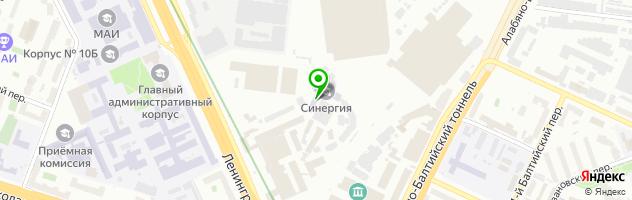 """Колледж """"Синергия"""" на метро Сокол — схема проезда на карте"""