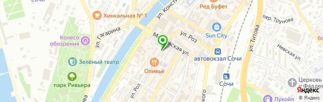 Стекольные работы в Сочи — схема проезда на карте