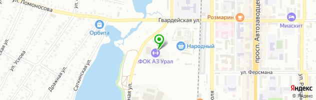 """Физкультурно-оздоровительный комплекс """"УРАЛ"""" — схема проезда на карте"""